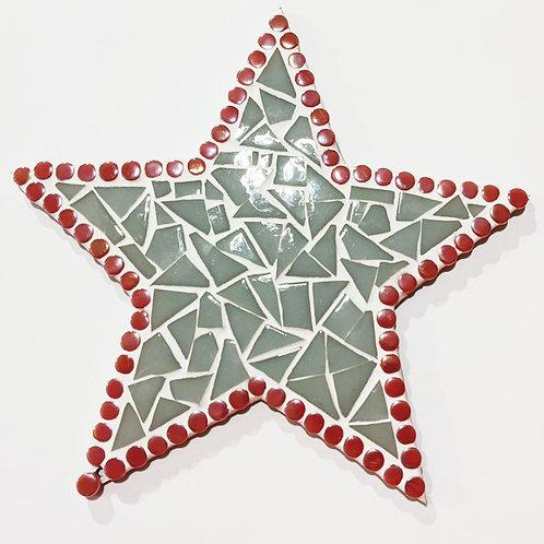 Hanging Star Mosaic - Grey Tiles & Pink Tiles with Iridescent Dots