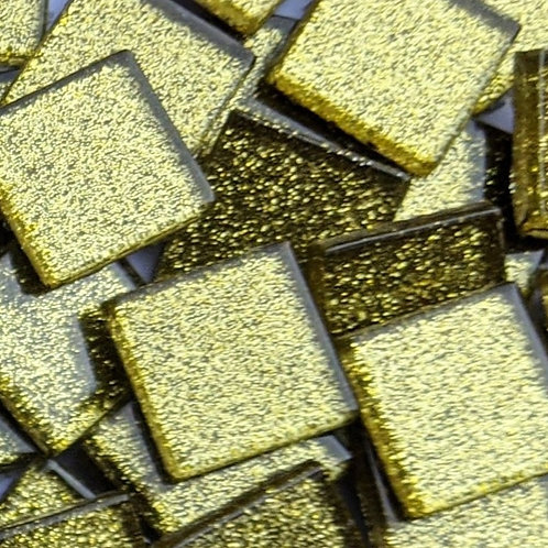 Glitter Mosaic Tile - Gold Sparkle - Shiny Smooth Glass - 23mm