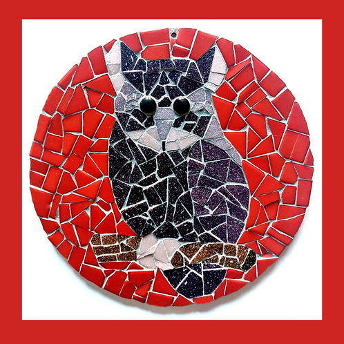 Purple and Red Round Owl Mosaic Kit