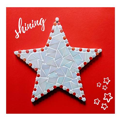 White Iridescent Hanging Star Mosaic Kit