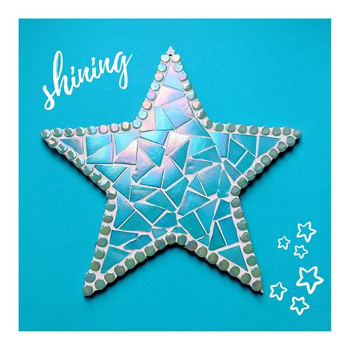 Handmade Hanging Star Mosaic - Iridescent Turquoise Shimmer