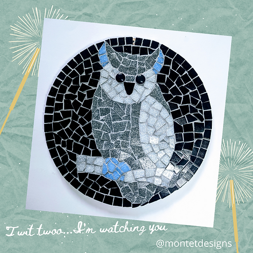 Black and Grey Owl Mosaic Kit