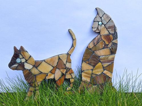 Cat and Kitten - Handmade Mosaic -Tabby Brown Tones