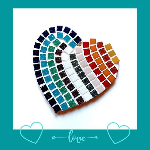 Family Pack Multi Coloured Love Heart Mosaic Kit
