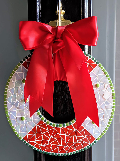 Christmas Wreath Mosaic Kit - Red and White Iridescent