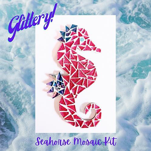 Pink Glittering Seahorse Mosaic Kit