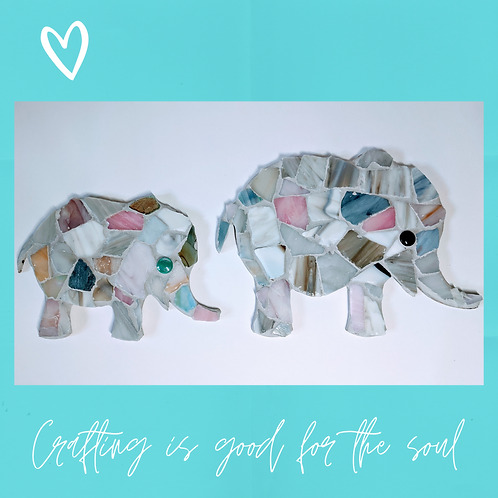Grey and pastel African elephant family mosaic kit
