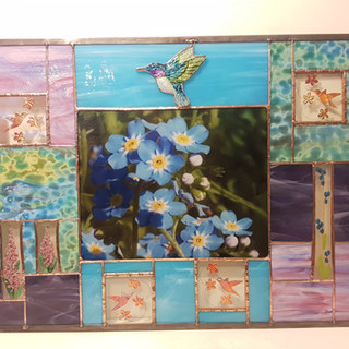 Hummingbirds and Flowers Panel