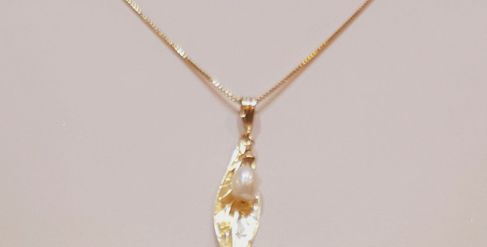 Leaf with Pearl Necklace, Gold Filled