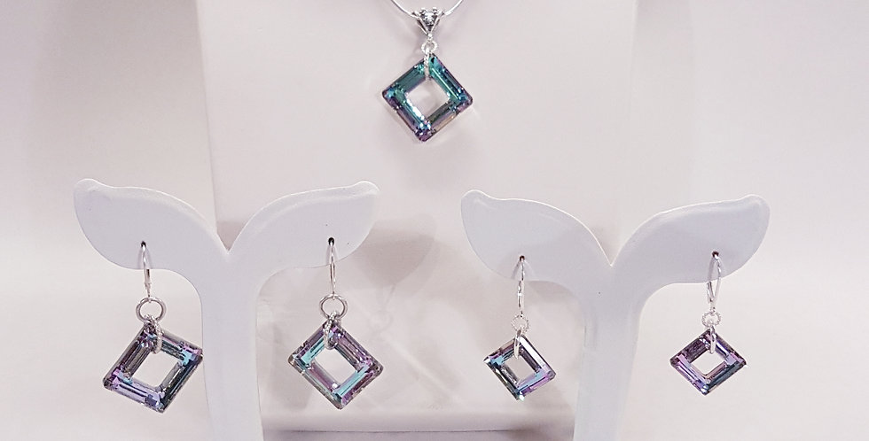 Square Swarovski Crystal Jewelry