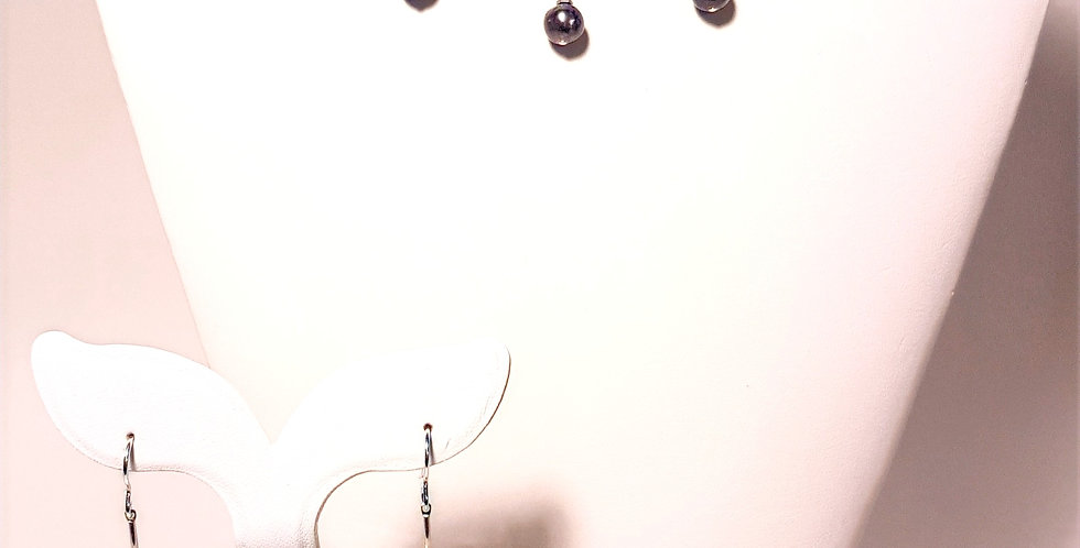Peacock Pearl Curved Bar Necklace or Earrings
