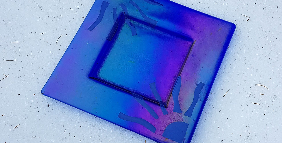 Blue Ray Platter, Fused Glass