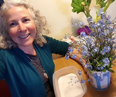 Nell with fresh forget me nots in silica