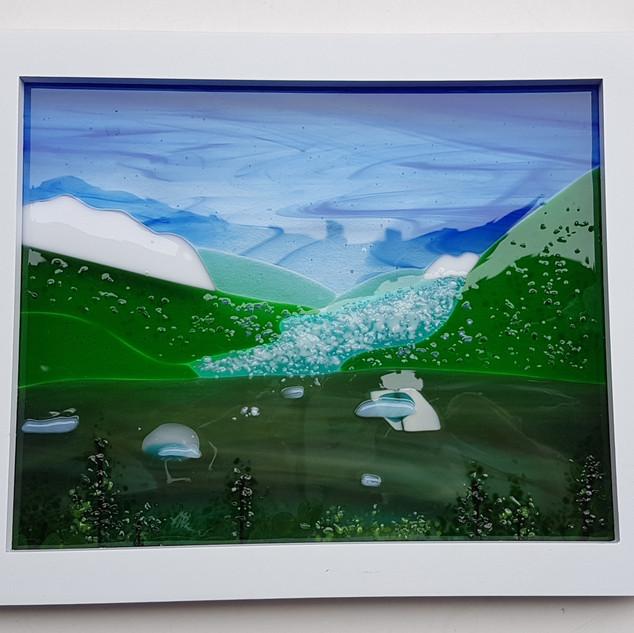 Mendenhall Glacier in Fused Glass