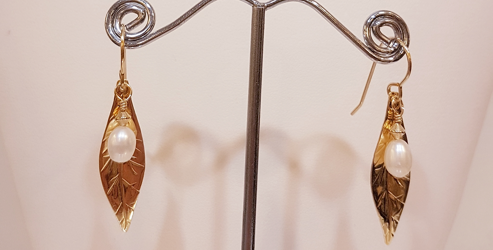 Leaf with Pearl Earrings, Gold Filled