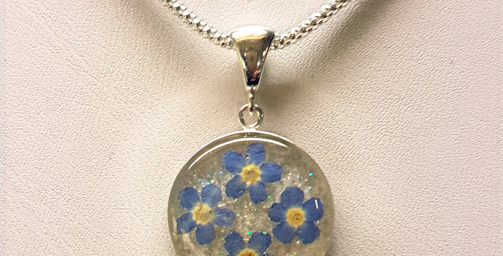 Real Forget Me Not Flower Necklaces