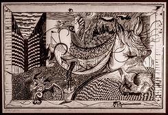 horse dreaming - woodcut, aleks rosenberg