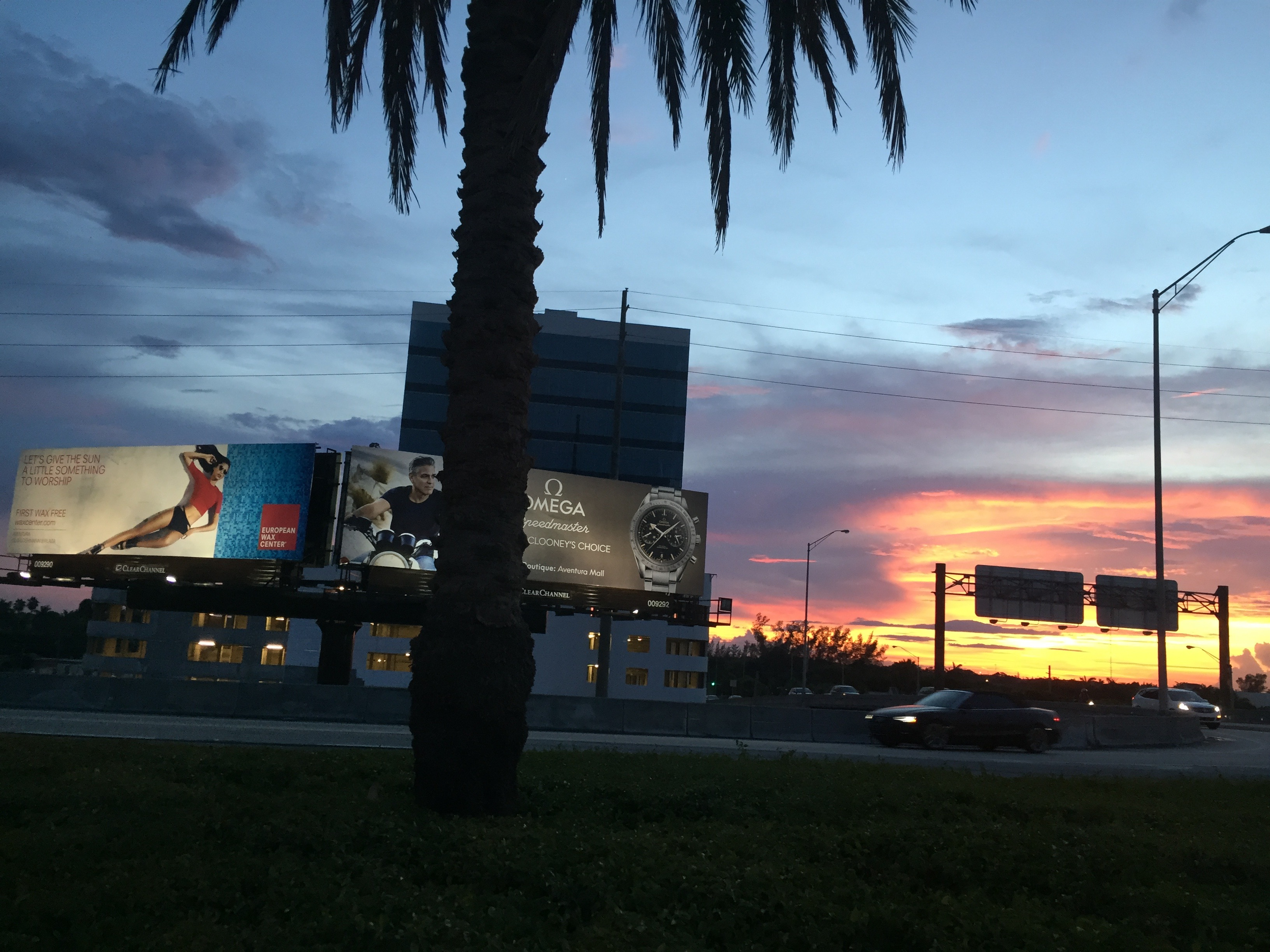 billboards at sunset