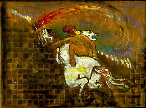 The fought bareback - mixed on paper.jpg