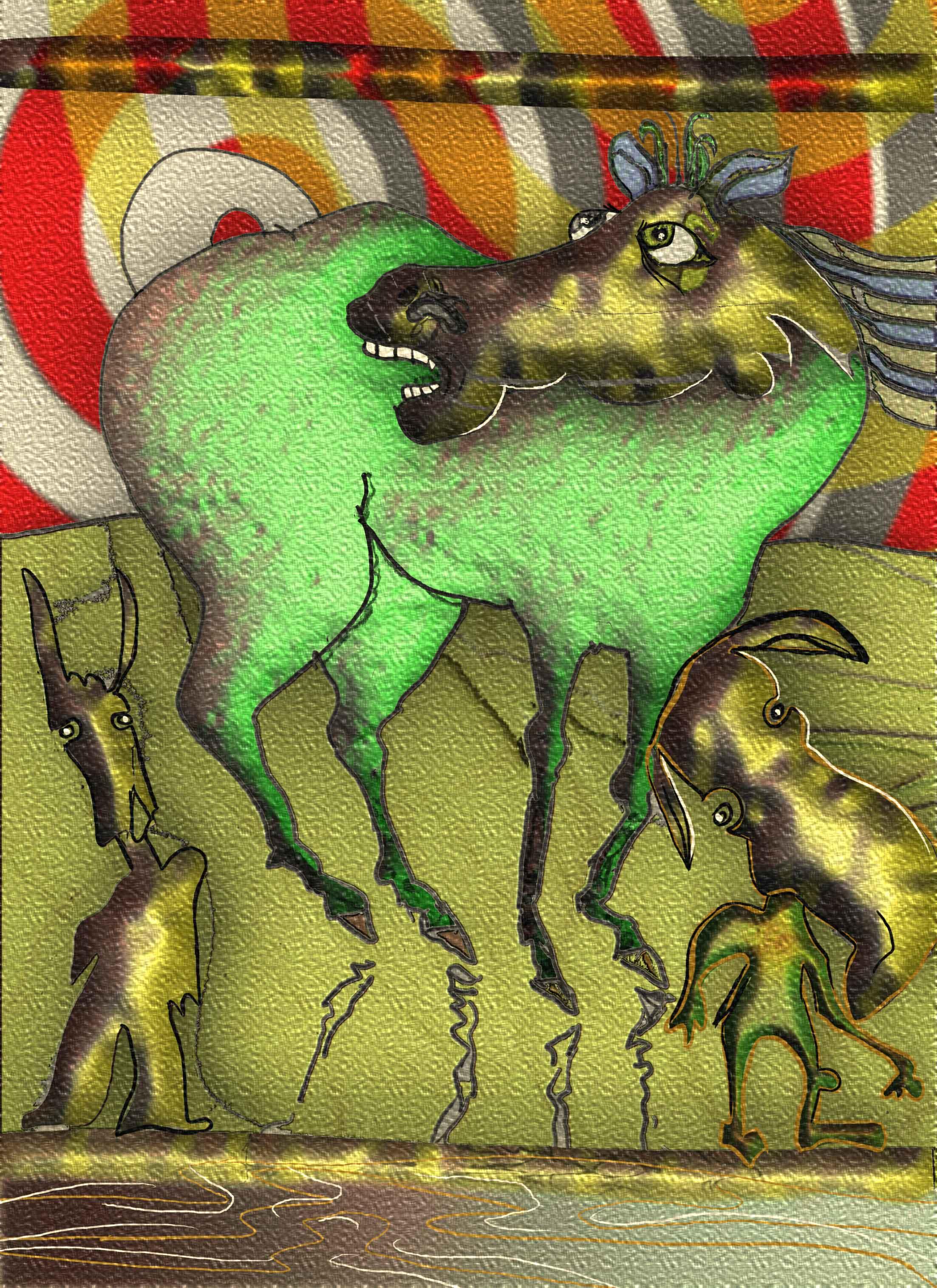 animals-green-horse