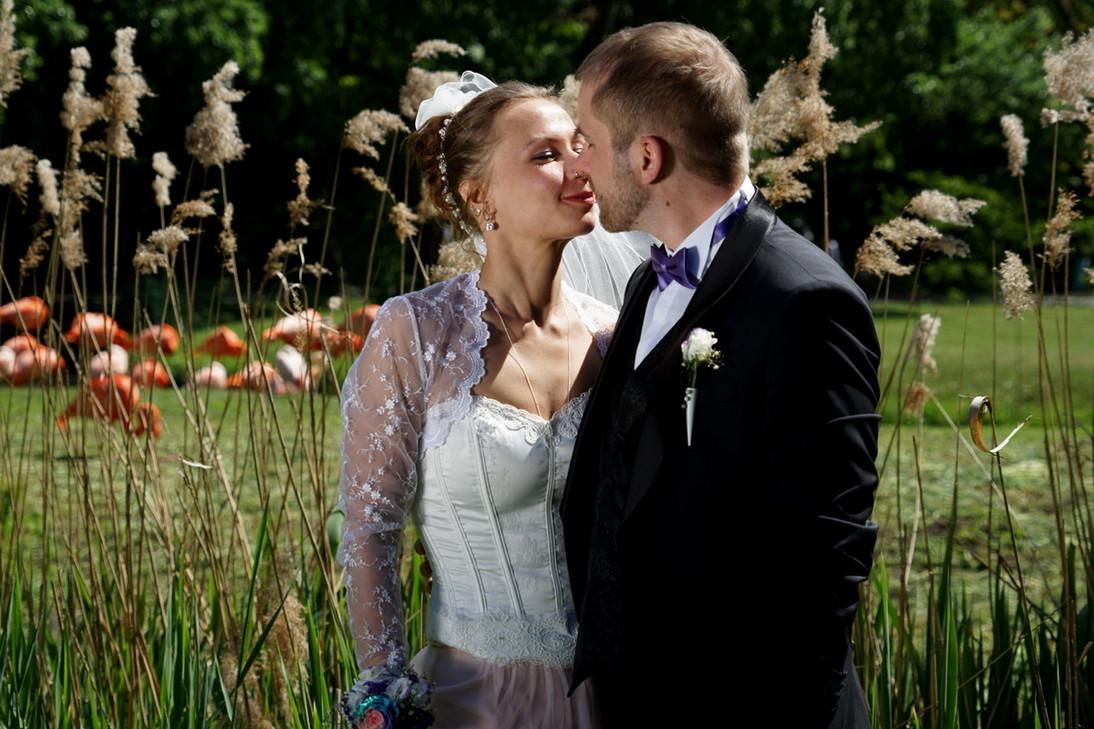 Märchenhaft: der Kuss eines Hochzeitspaars im Grünen. Da die Braut ihren Prinzen schon gefunden hat, gibt es im See statt Fröschen Flamingos.