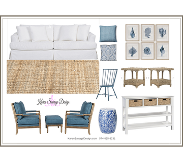 Blue & White Living Room Design Map #6 Style Solutions Karen Savage Design