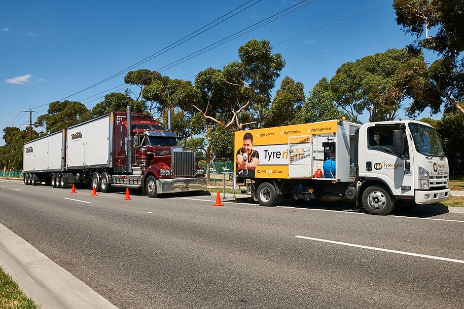 24 Hour Breakdown Tyre Service - Truck having Tyres Changed