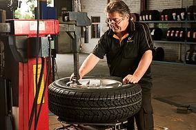Van tyre being replaced
