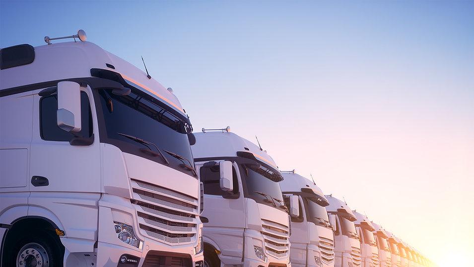 Fleet of trucks side by side