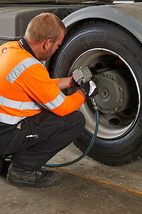 Fleet truck tyre being fitted