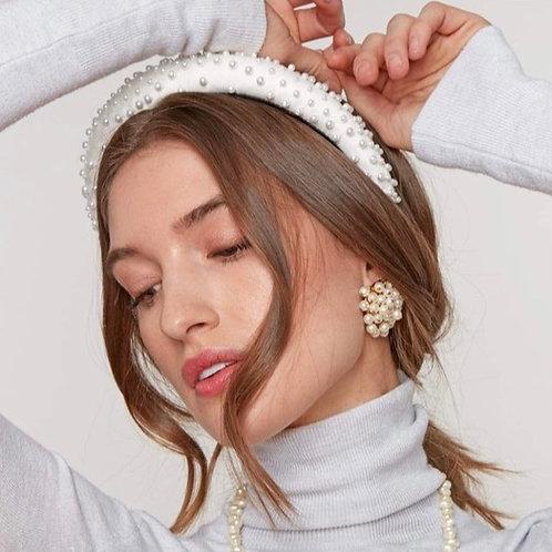 Lele Sadoughi Ivory Pearl Padded Headband