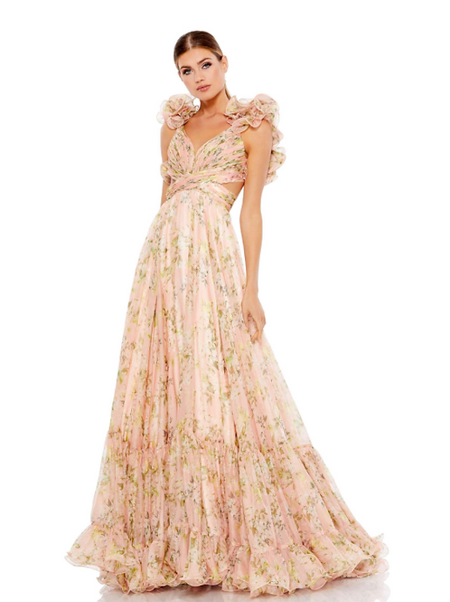 Mac Duggal Ruffle Tiered Floral Cut-Out Chiffon Gown