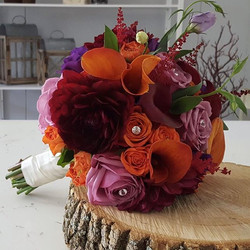 Happy Wedding Day to Megan and Gabriel -- love this first of two fall bouquets this weekend for our