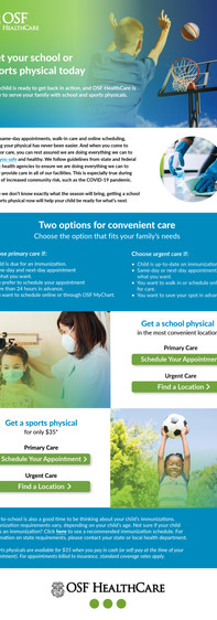School and Sports Physicals Landing Page