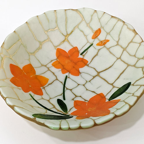 Orange Orchid Art Glass Bowl