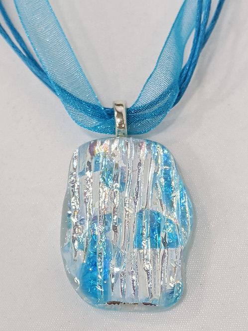 Blue Silver Dichroic Pendant