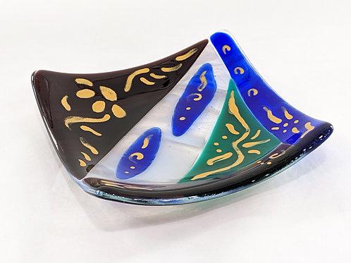 Mardi Gras art glass dish