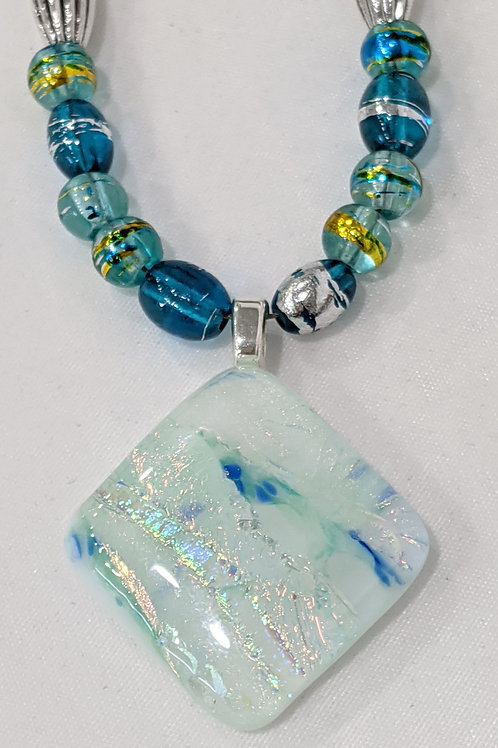 Blue Rainbow Dichroic Art Glass Pendant