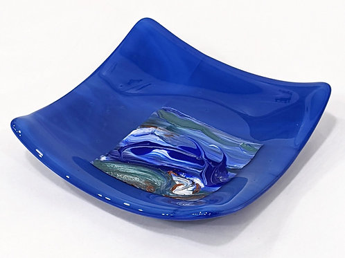 Blue abstract wave dish
