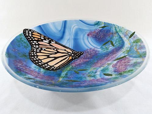 Monarch Butterfly art glass bowl