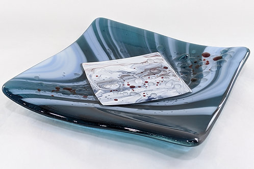 Stormy Seas hand-painted glass dish
