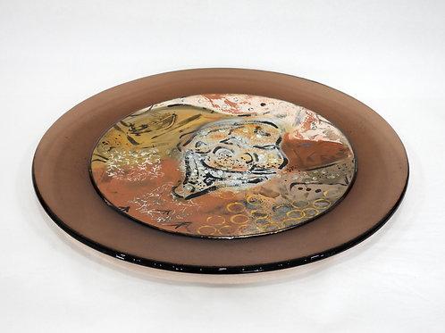 Winter Lichen Art Glass Platter