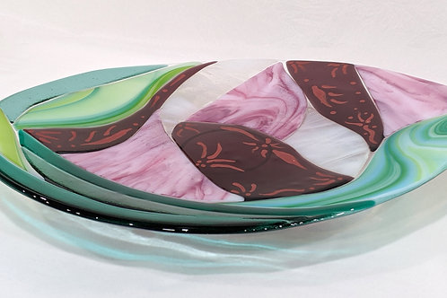 Summer Rose Art Glass Platter