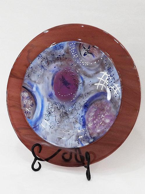 Dragonfly Garden Art Glass Platter