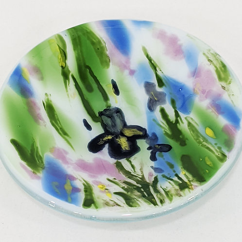 Hand-painted Iris Art Glass Bowl