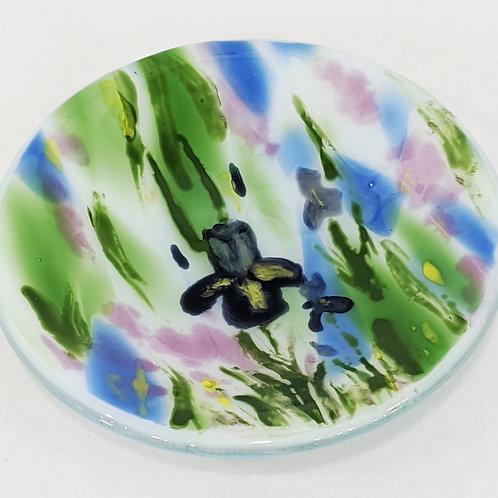 Hand-painted Iris Art Glass Bowl