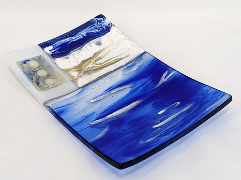 Sand and Sea Abstract Art Glass Platter