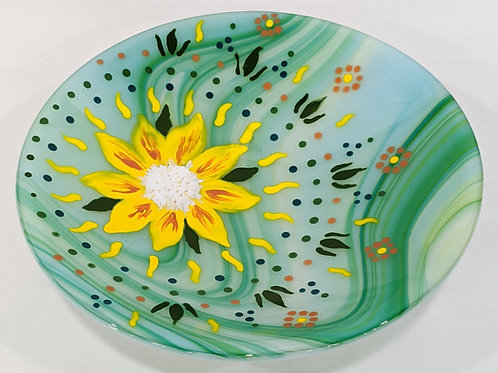 Painted Sunflower art glass bowl