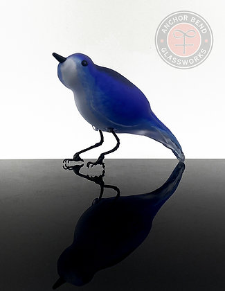 hand blown glass blue bird birds sculpture art glass gift anchor bend glassworks made in usa