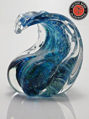 hand blown glass art wave sculpture gift wave bend glassworks art newport ri made in usa